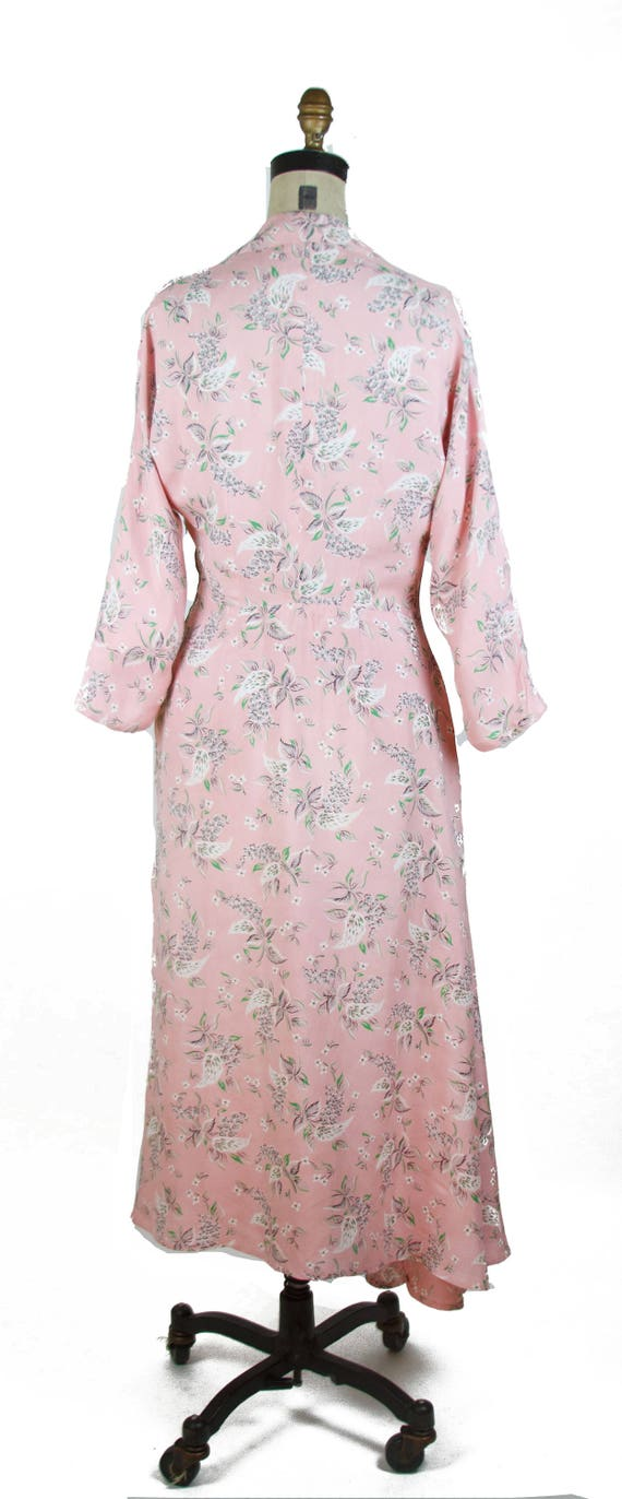Vintage 1940s Dress ~ Pink Floral Cold Rayon Ruch… - image 6