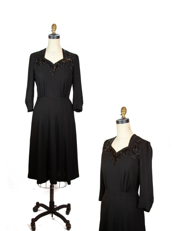 Vintage 1940s Dress ~ Black Rayon Sequin Neckline