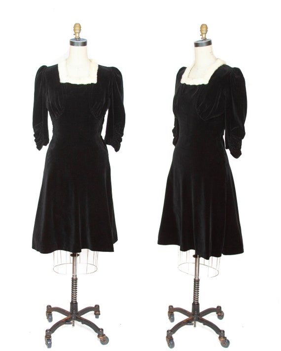 1930s Dress ~ Black Velveteen Ruched Puff Sleeve R