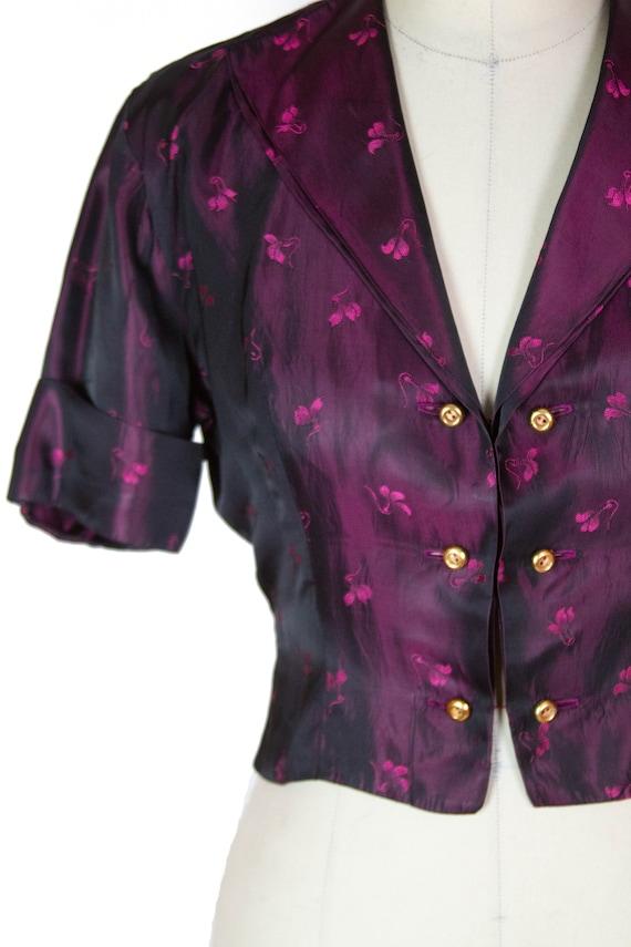 1950s Jacket ~ Plum Sharkskin Satin Short Sleeve … - image 2
