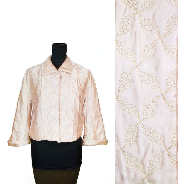 1950s Bed Jacket ~ Pink Satin Gold Lurex Quilted L
