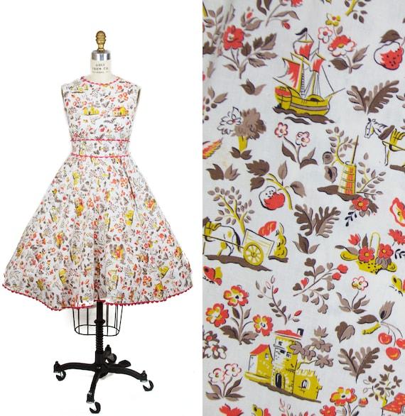 Vintage 1950s Dress // Castle Ship Fruit Countrysi