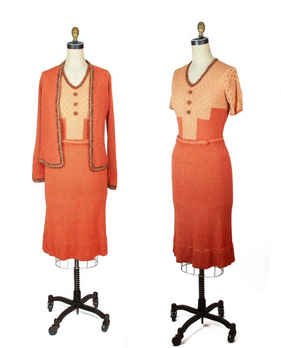 1930s Sweater Dress ~ Art Deco Peach Coral Geometr