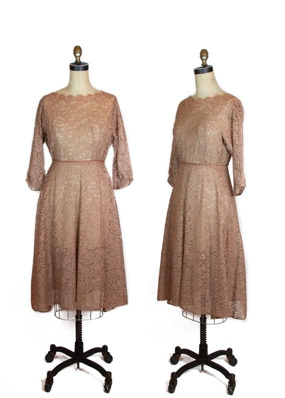 1950s Dress ~ Mocha Brown Lace Dress