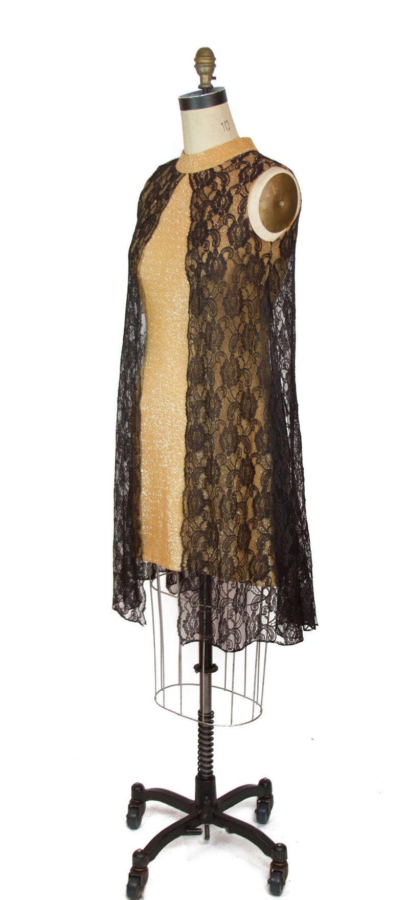 Vintage 1960s Dress ~ Gold Lurex Wiggle Cocktail Dress with Black Lace Tent Dress Overlay