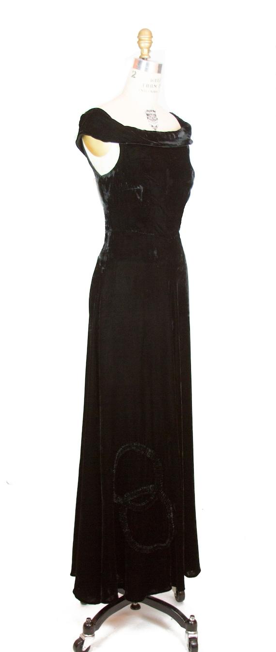 Vintage 1930s Dress ~ Black Velvet Evening Gown w… - image 3