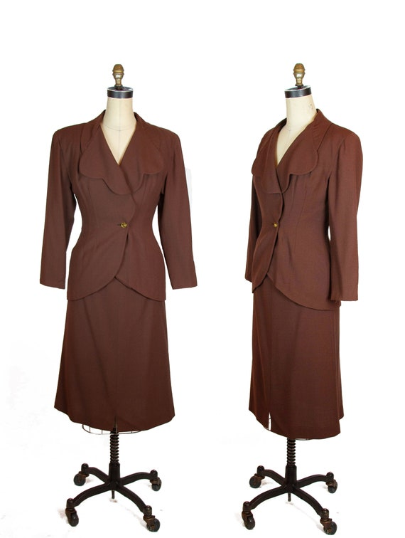 1940s Suit ~ Brown Wool Scallop Collar Tailored Su