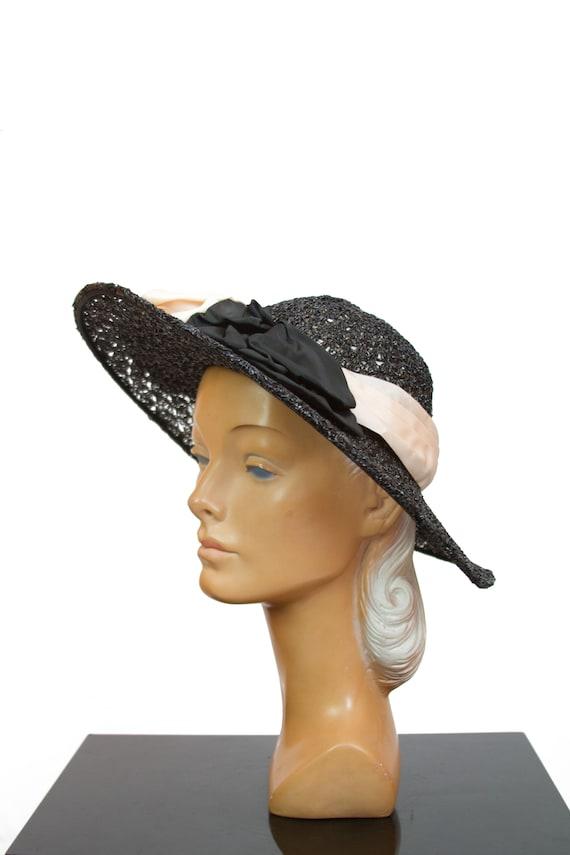 c6de5e4fc59 1940s Hat Black Crochet Lace Wide Brim Ribbon Bow Hat