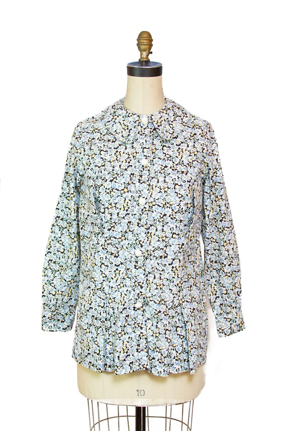 1930s Blouse // Floral Feedsack Smock Long Sleeve