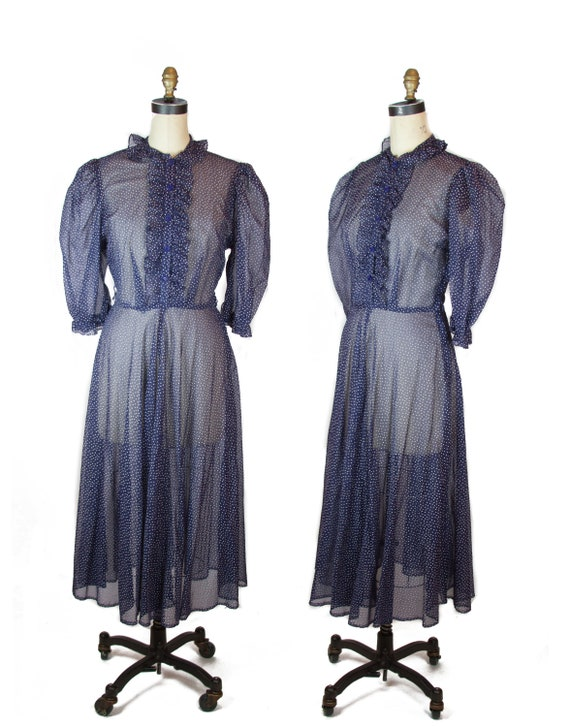 1940s Dress ~ Sheer Navy Dot Puff Sleeve Ruffle Button Placket Dress