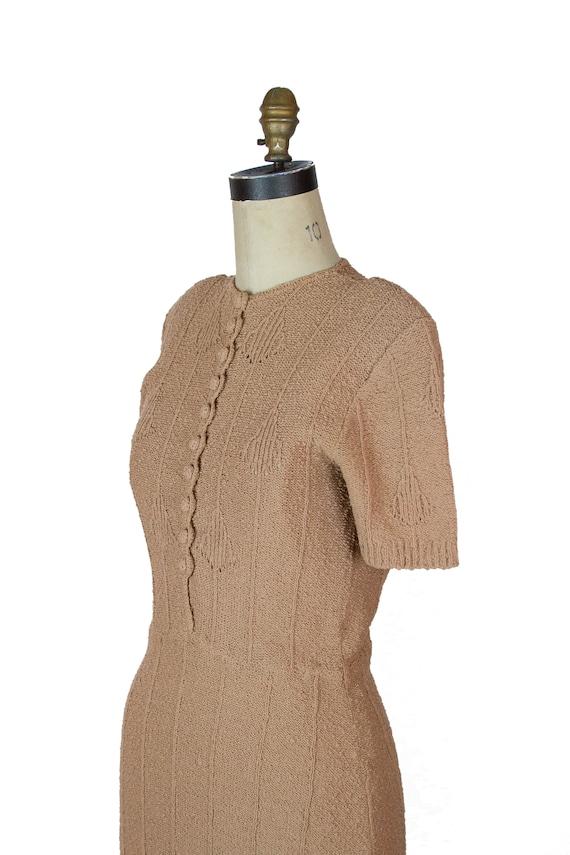 1940s Dress ~ Beige Snyder Knits Sweater Dress - image 5