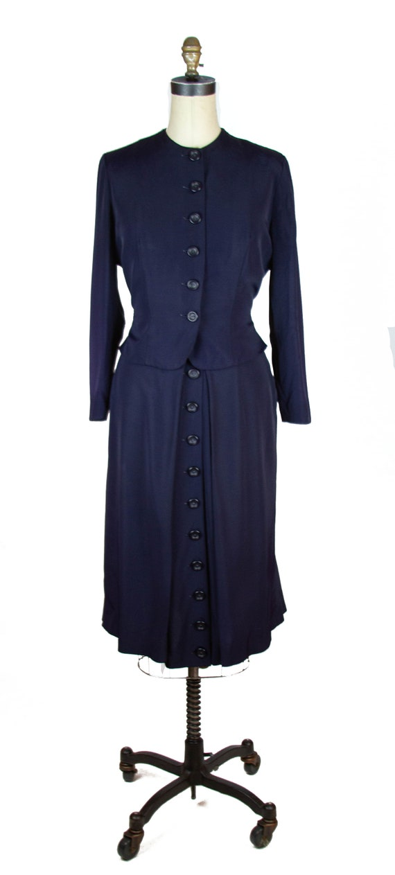 1940s Suit ~ Navy Faille Tailored Suit with Butto… - image 2