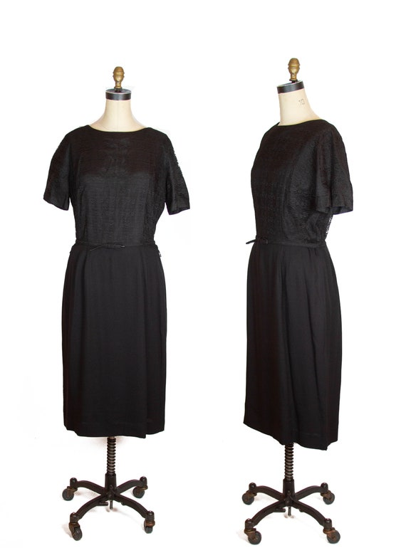 1950s Dress ~ Black Lace Rayon Plus Size Dress