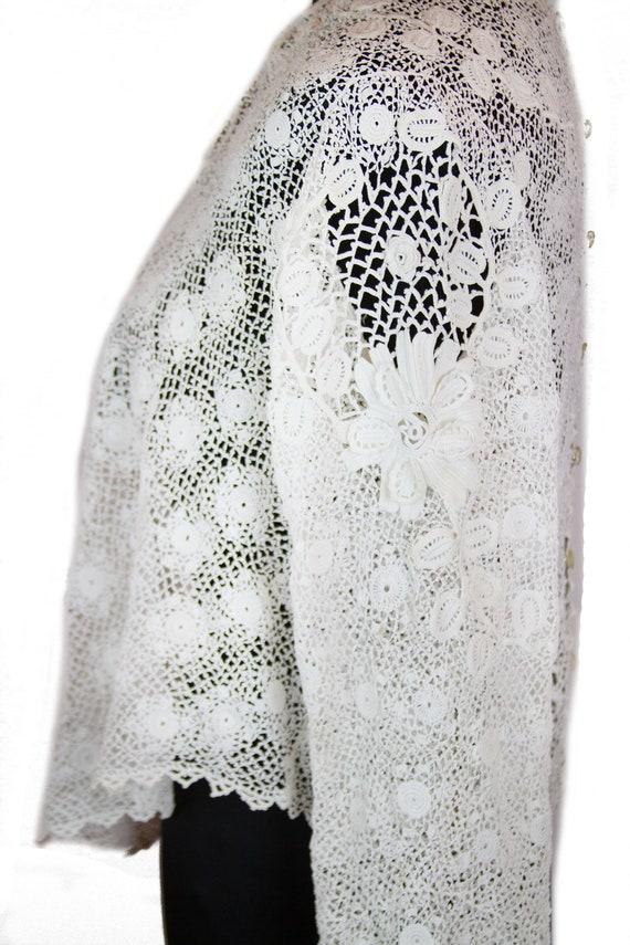 Victorian Antique Blouse ~ White Irish Crochet Top - image 4