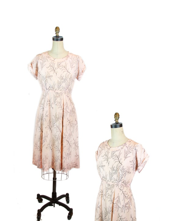 Vintage 1940s Dress ~ Black Vines Pink Rayon Dress