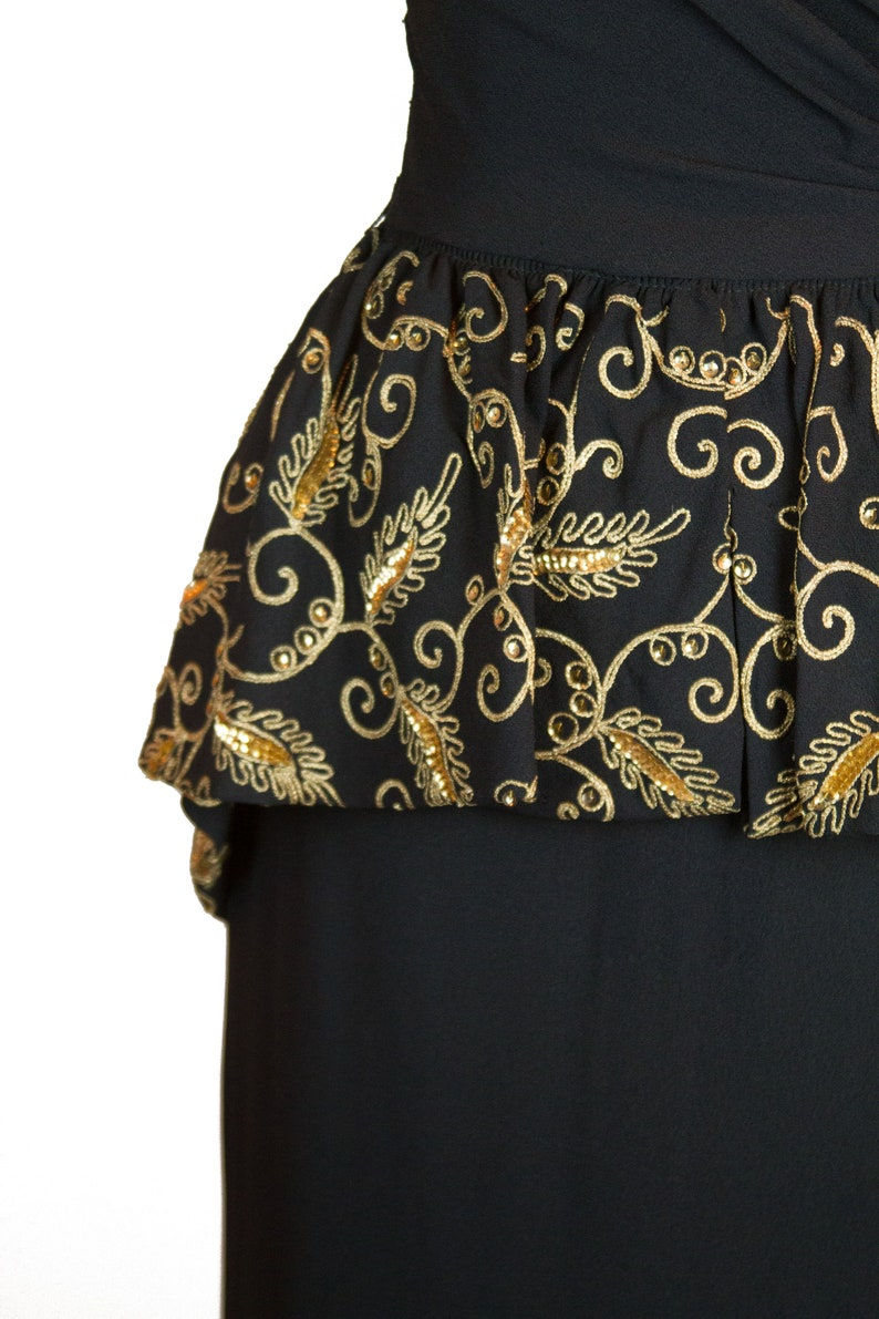 1940s Dress ~ Gold Soutache and Sequin Black Crepe Rayon Evening Gown with Peplum