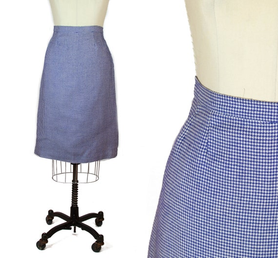 1950s Skirt ~ Blue Houndstooth Pencil Skirt