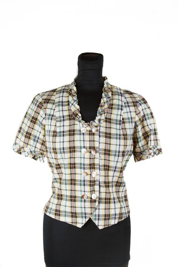 1930s Blouse // Plaid Double Breasted Vestee  Cott