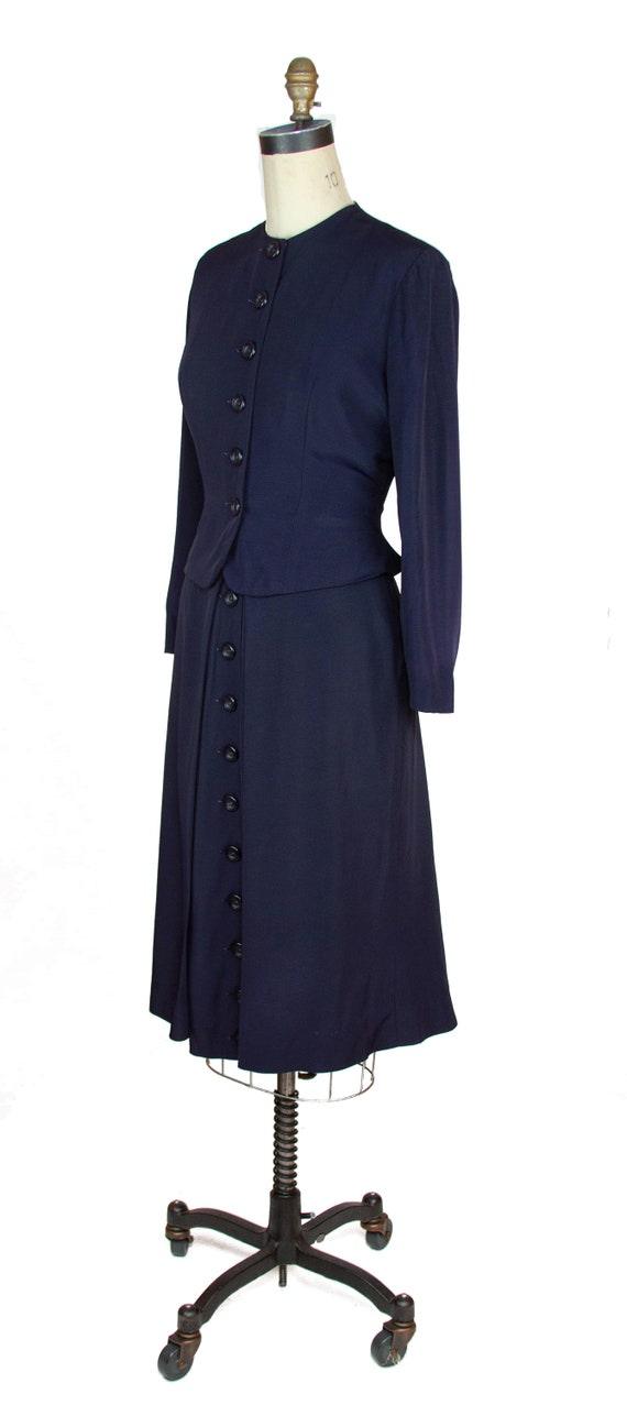 1940s Suit ~ Navy Faille Tailored Suit with Butto… - image 5