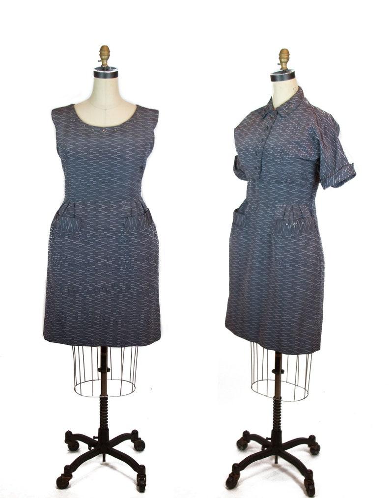 e82c7472a Vintage 1950s Dress Grey Studded Plus Size Dress with | Etsy