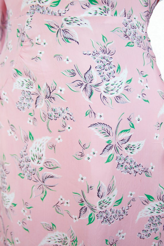 Vintage 1940s Dress ~ Pink Floral Cold Rayon Ruch… - image 2