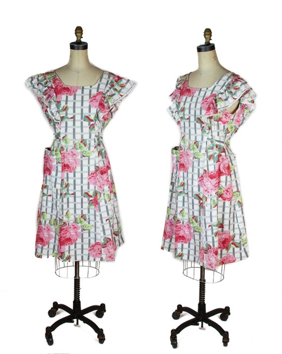 1940s Dress ~ Pink Rose Cotton Pinafore Dress