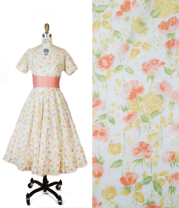 1950s Dress ~ Yellow and Peach Rose Floral Cotton