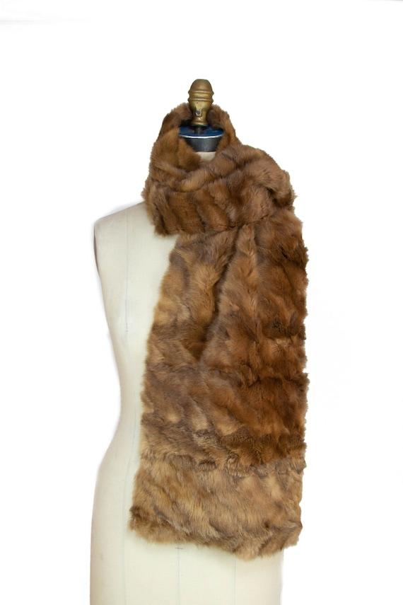 1940s Fur Scarf ~ Vintage Brown Fur Scarf Stole