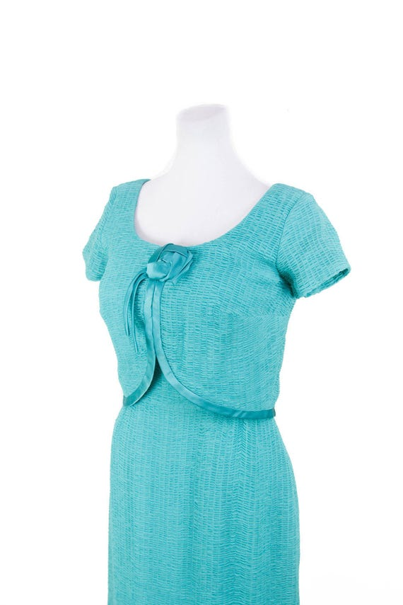 1950s Dress // Ruched Turquoise Chiffon Wiggle Dr… - image 3