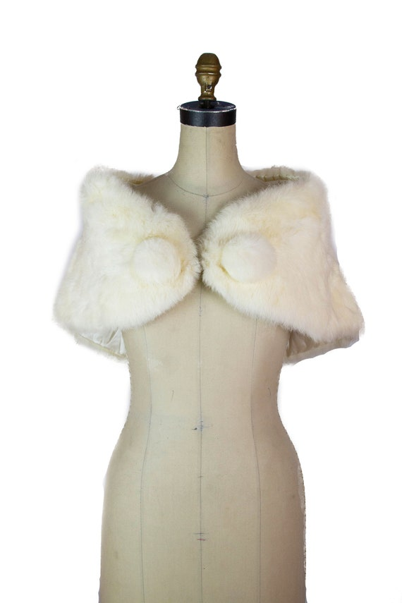 1950s Fur Stole ~ Ivory Shoulder Wrap with Large F