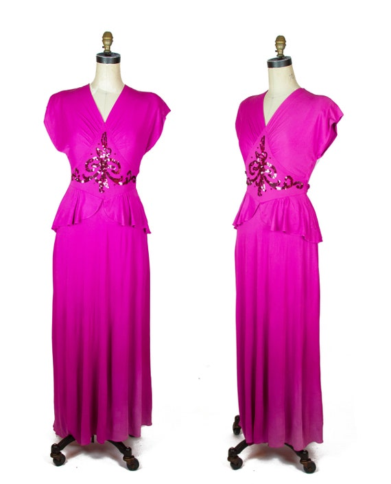 1940s Dress ~ Fuchsia Rayon Jersey Sequin Peplum E