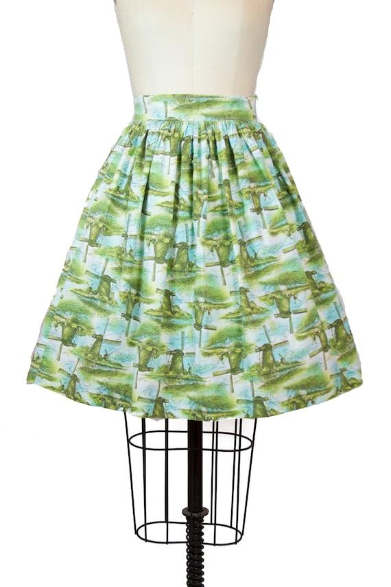Vintage 1950s Skirt ~ Dutch Windmill Novelty Print