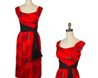 1950s Dress ~ Hawaiian Kamehameha Black and Red Wiggle Dress