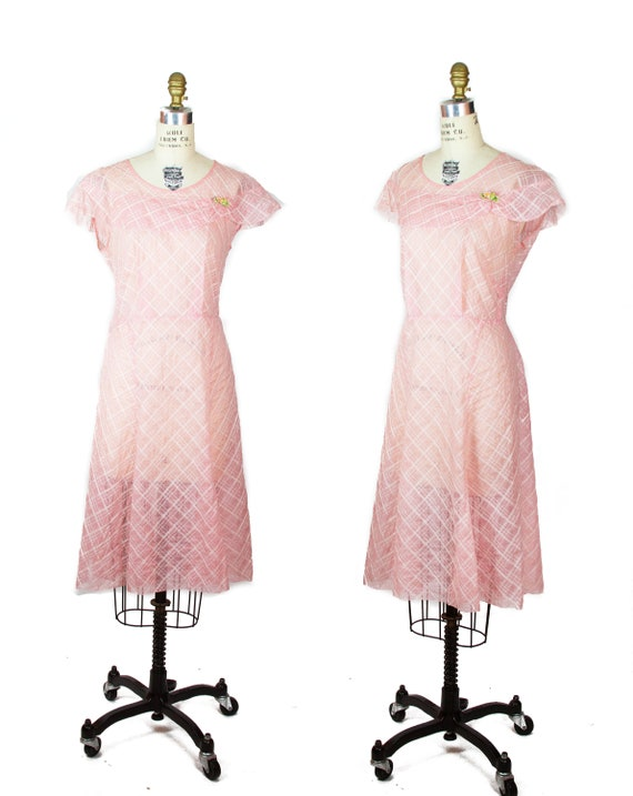 1930s Dress ~ Pink Organdy Plaid Embroidered Ruffl