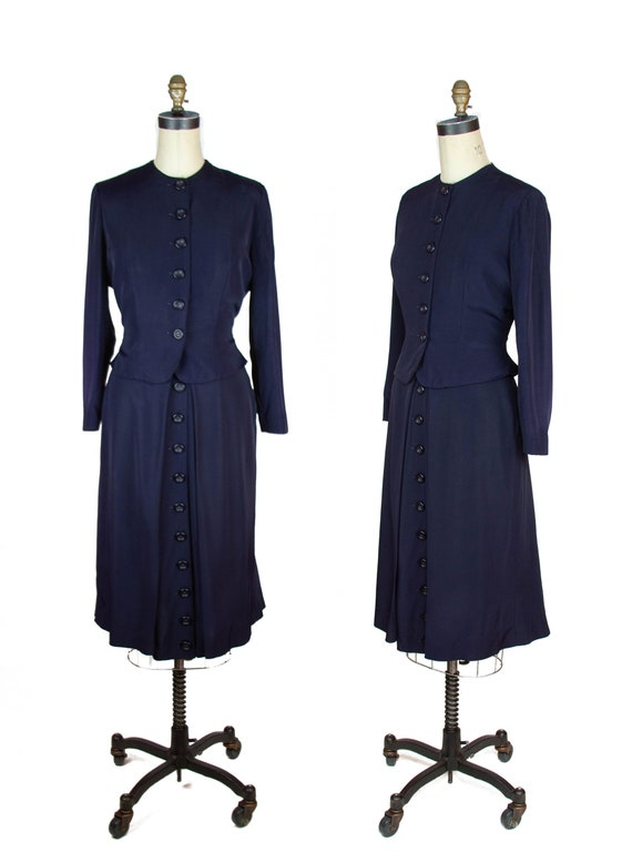 1940s Suit ~ Navy Faille Tailored Suit with Butto… - image 1
