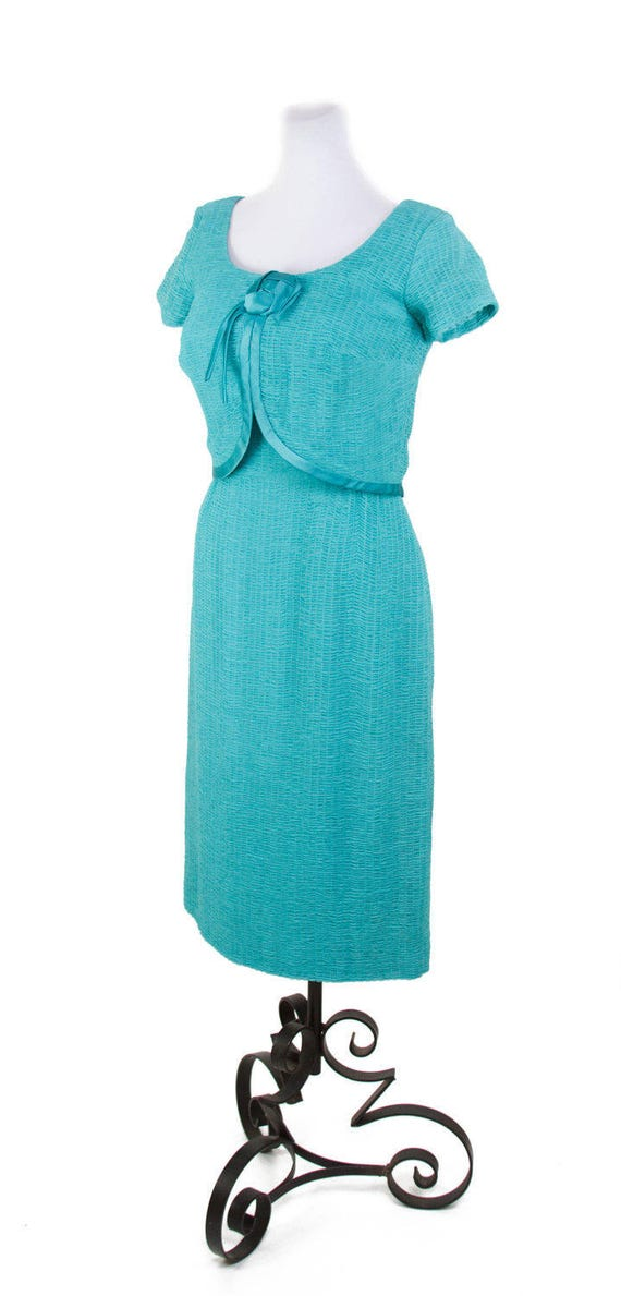 1950s Dress // Ruched Turquoise Chiffon Wiggle Dr… - image 4