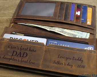 Fathers day gift, Fathers day, Father's day gifts, Gifts for Dad, Wife to Husband gift, Personalized wallets for men, Mens Leather wallet