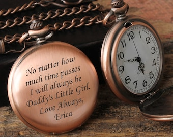 603c1dd49 Father Daughter gift, Pocket Watch, Mens Personalized, Father of the Bride,  Gifts for Dad from Daughter, Pocket Watch Chain, Pocket Watches