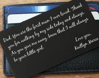 Wallet Insert, Wallet Card, Father Daughter gift, Father of the Bride, Wallet Insert Card, Personalized Card, Daddys little girl, Custom