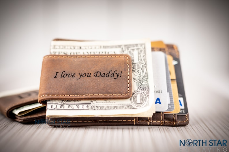 00ff84f1d2cce Unique Gifts for Him Leather Money Clips for Men First Fathers Day  Personalized Genuine Leather Wallet with ID Window Custom Engraved Wallet
