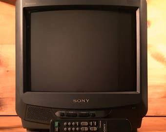 "Sale ! SONY CRT Trinitron KV-13m30 13"" Color Tv Television w/ Sharpness, Dvd, Vhs, Laserdisc 1990s Nintendo Video Games Gaming Analog Rare"
