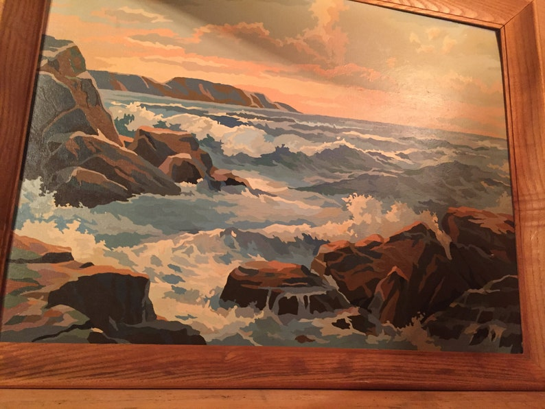Sale Large Vintage Ocean Mountain Shoreline Water Sea Paint By Number Nature Painting Mid Century 1950s 60s Rare