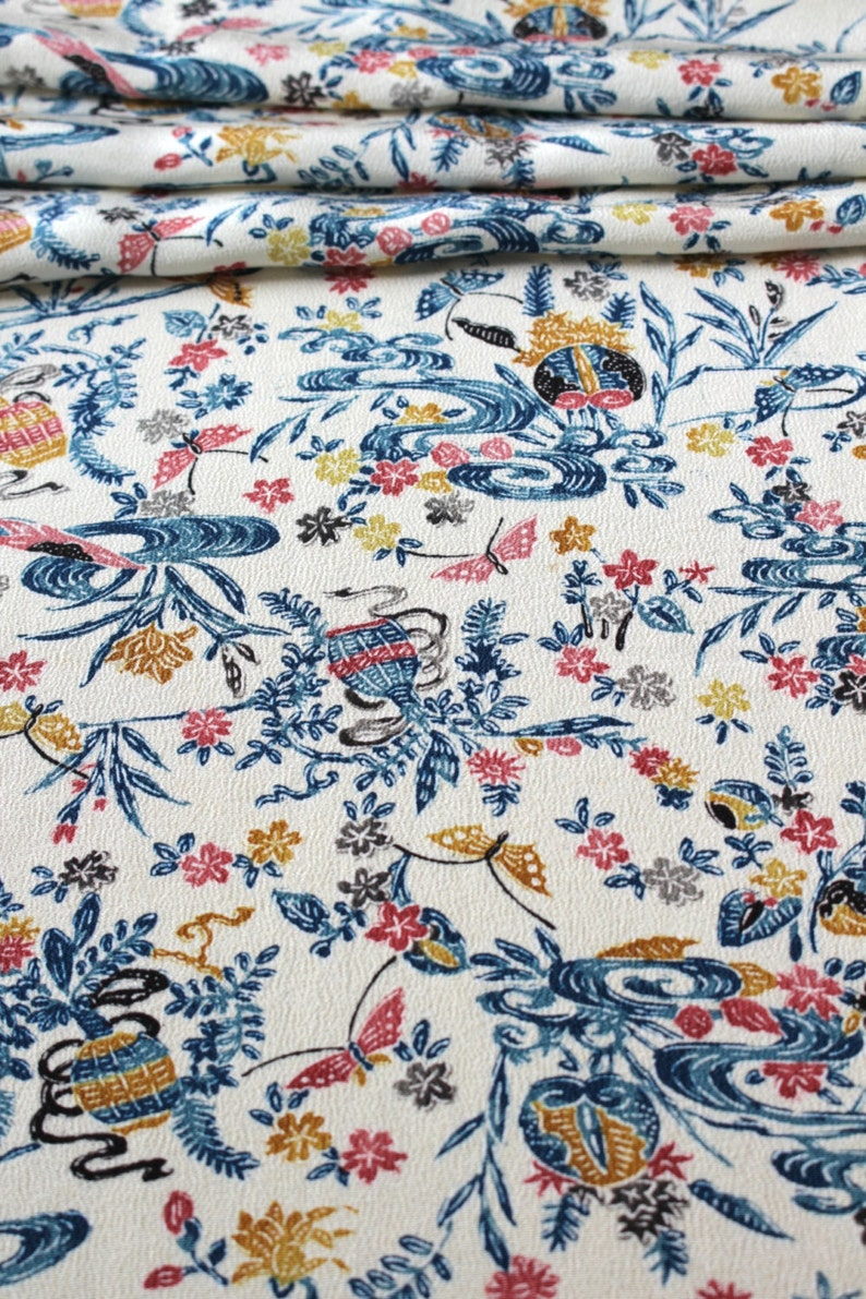 Japanese Kimono Floral Silk Kimono Silk Floral Fabric Kimono Fabric Floral Material Cherry Blossom Silk