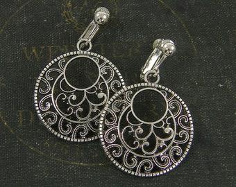 Plastic brown vintage costume jewelry 70s Moon half circle non pierced earrings Boho clip on earrings