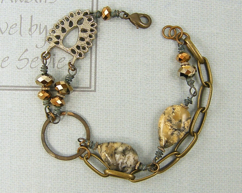 BC2-8 Antique Bronze Bead Bracelet SALE Gray Tan Gemstone Bronze Crystal Brass Chain Hoop Circle Wire Wrapped Bracelet Artisan Eclectic