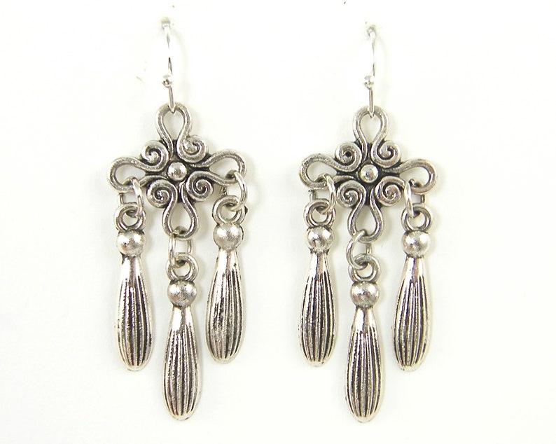 EC2-43 Boho Silver Dangle Earrings Tribal Metal Earrings Ethnic Chandelier Drop Ornate Swirl Spiral Cross Bohemian Earrings