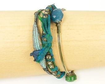Teal Bracelet Set, Turquoise Bangle Bracelet, Green Brass Bracelet Verdigris Bracelet Rhinestone Bangle Bracelet Stackable Bracelets  BC2-20