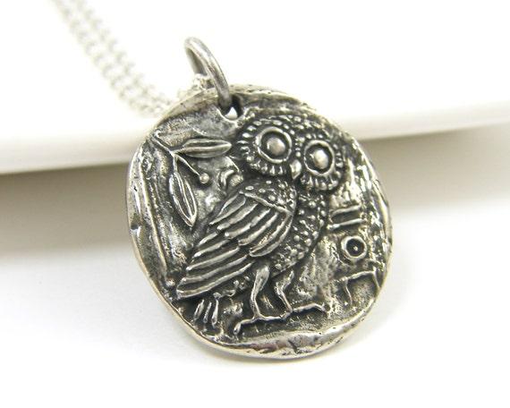 Greek Owl Pendant Pewter