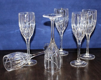 bf754795c0f1 Vintage Set of 6 Mikasa Uptown Vertical   Swirl Cut Crystal Wine Glasses
