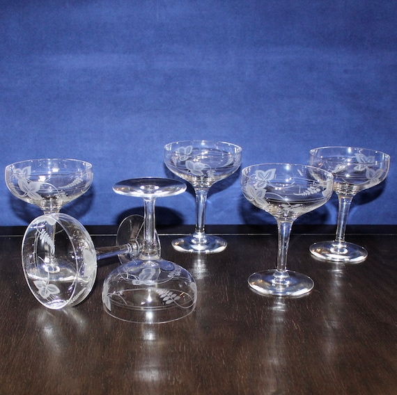 Set of 6 Blue Wine Glasses//Sherbets with Silver Rim